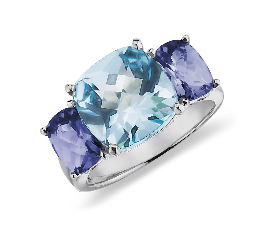 Blue Topaz and Iolite Ring in 14k White Gold