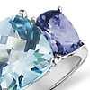 Blue Topaz and Iolite Ring in 14k White Gold