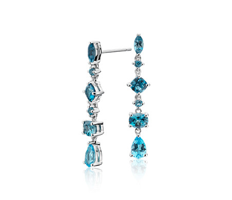 Tonal Drop Blue Topaz Drop Earrings in Sterling Silver