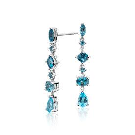 NEW Ombre Blue Topaz Drop Earrings in Sterling Silver