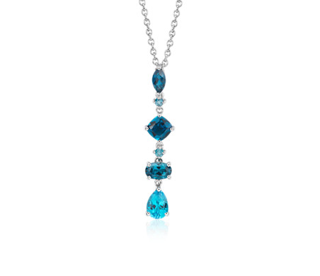 Tonal Drop Blue Topaz Pendant in Sterling Silver