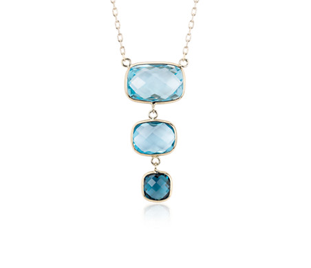 Blue Topaz Ombre Drop Necklace in 14k Yellow Gold