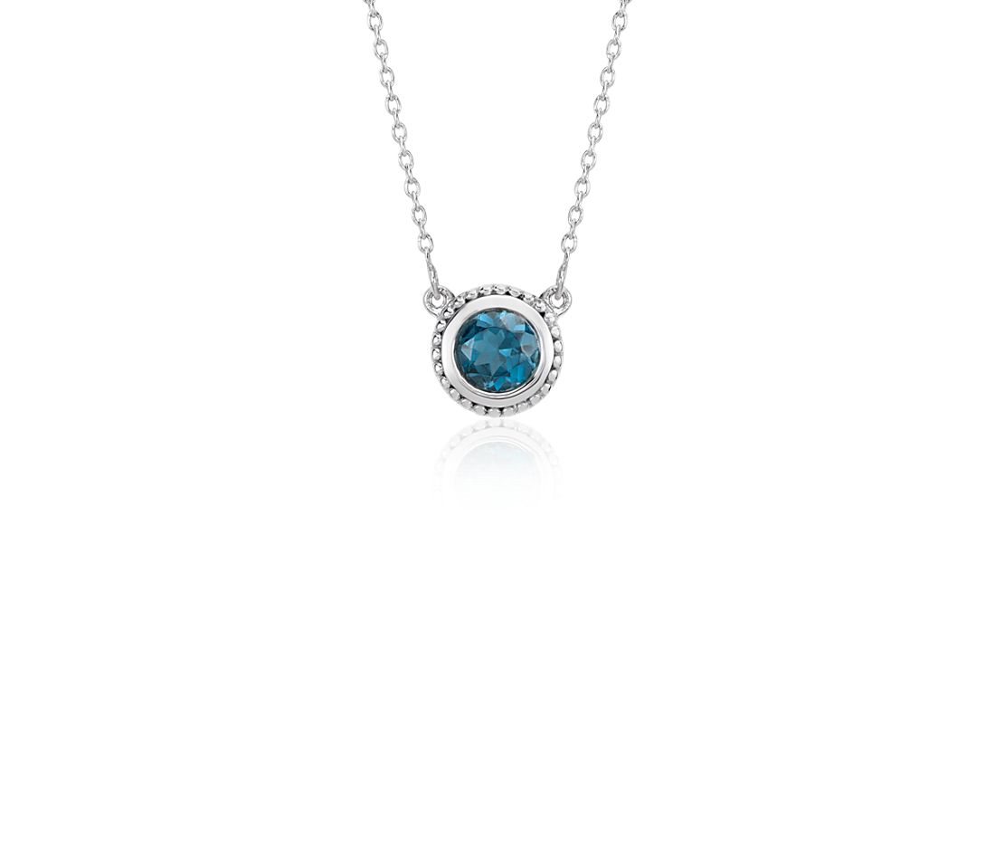 London Blue Topaz Milgrain Necklace in Sterling Silver (5mm)