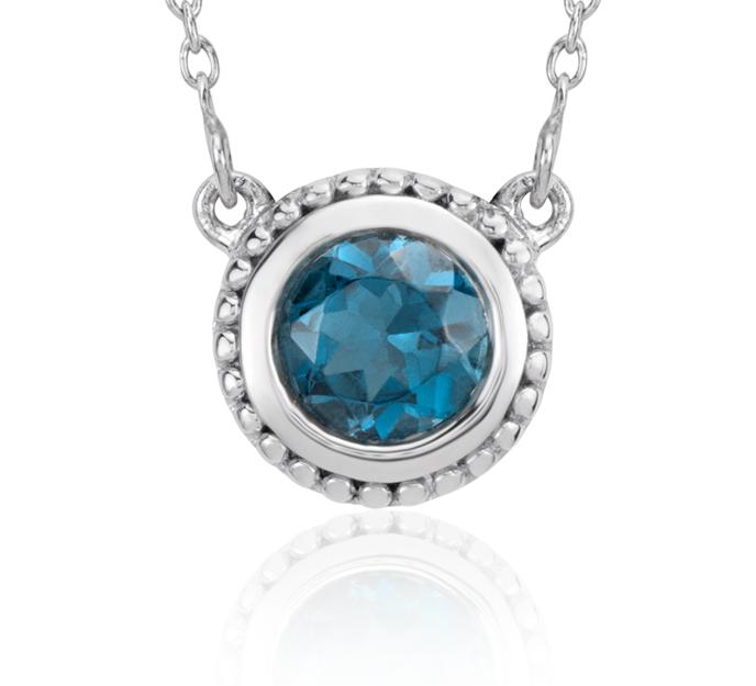Collar con topacio azul Londres y detalles milgrain en plata de ley (5mm)