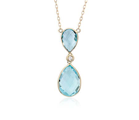Blue Topaz Pear Drop and Diamond Necklace in 14k Yellow Gold (10x5mm)