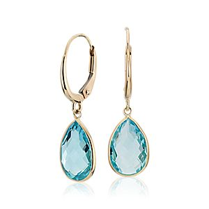 Blue Topaz Pear Drop Earrings in 14k Yellow Gold (12x8mm)