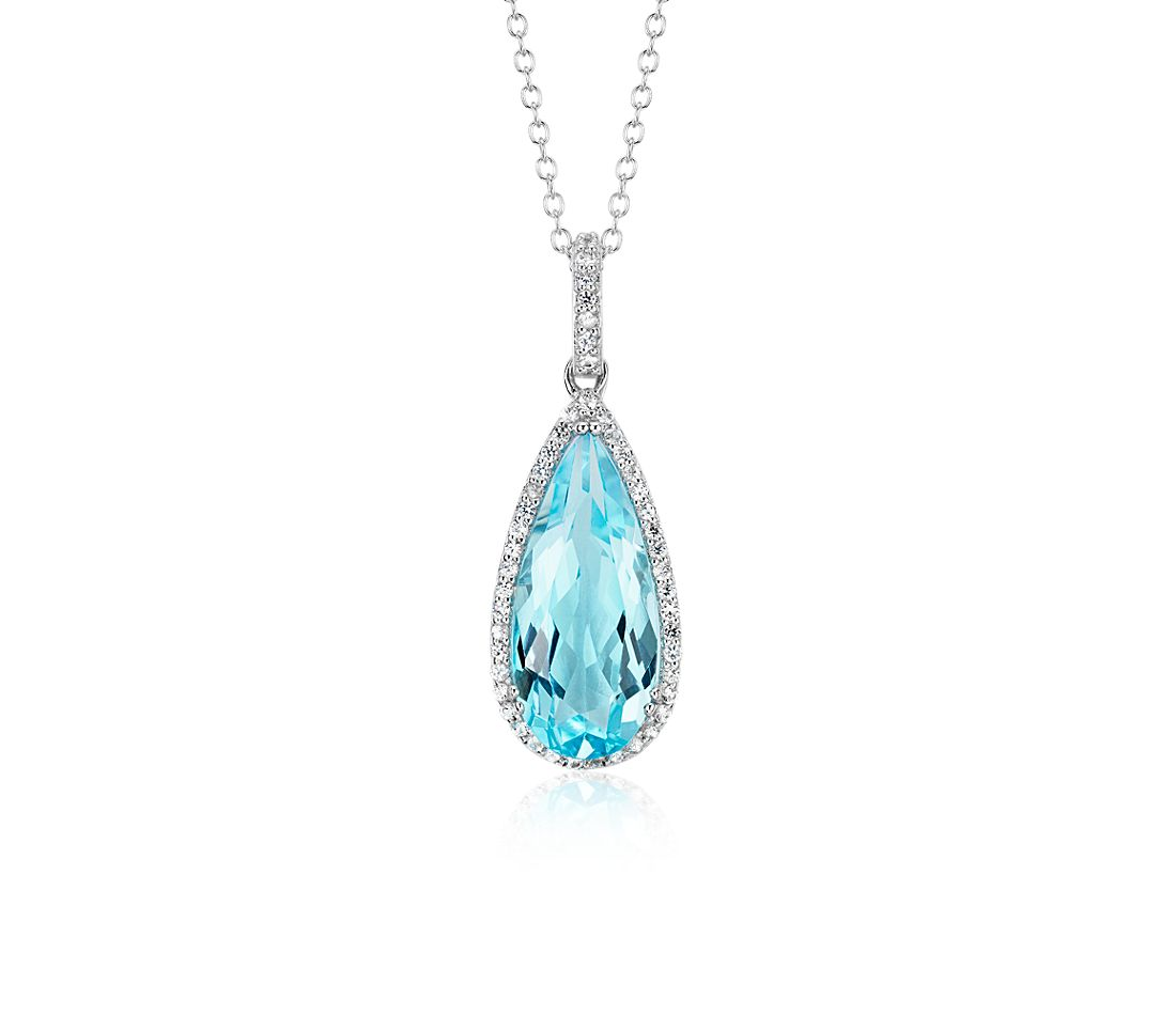 Blue Topaz Pear Pendant with White Topaz Halo in Sterling Silver (18x8mm)