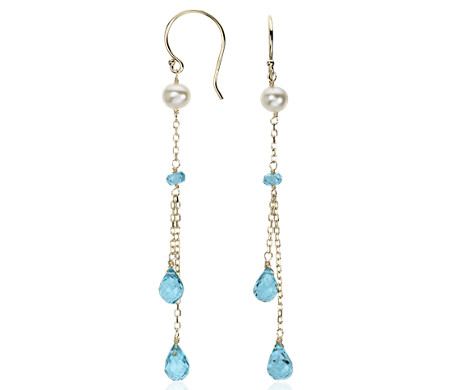 Blue topaz and freshwater pearl chandelier earrings in 14k yellow blue topaz and freshwater pearl chandelier earrings in 14k yellow gold aloadofball Image collections