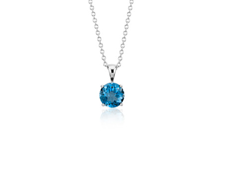 London Blue Topaz Solitaire Pendant in 14k White Gold (7mm)
