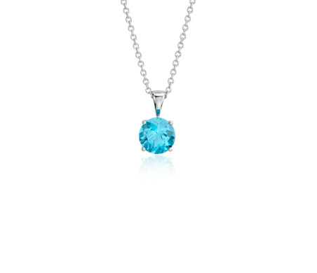 Blue Topaz Solitaire Pendant in 14k White Gold (7mm)