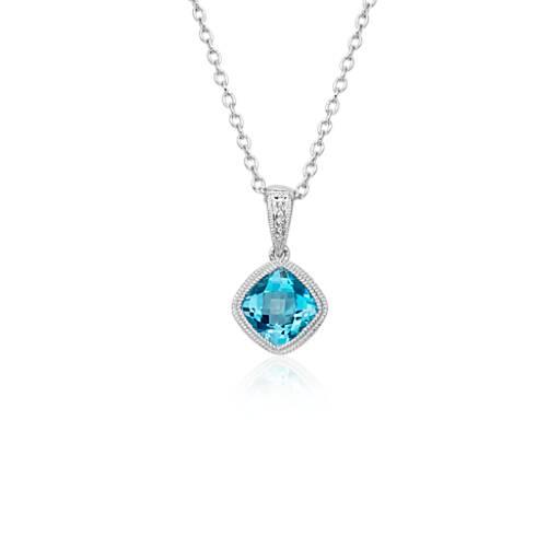 blue topaz cushion milgrain pendant in sterling silver