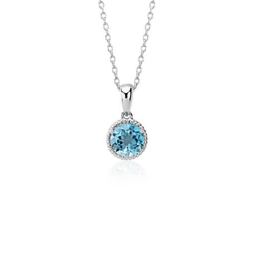 Blue Nile Cushion-Cut Swiss Blue Topaz Diamond Halo Pendant in 14k White Gold (13mm) iEcSb9Fj1r