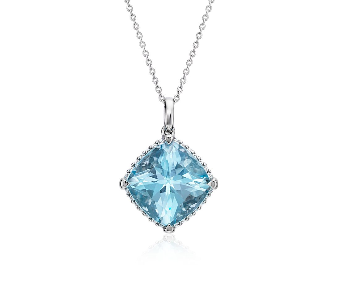 Cushion-Cut Swiss Blue Topaz Diamond Halo Pendant in 14k White Gold (13mm)