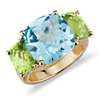 Blue Topaz and Peridot Ring in 14k Yellow Gold