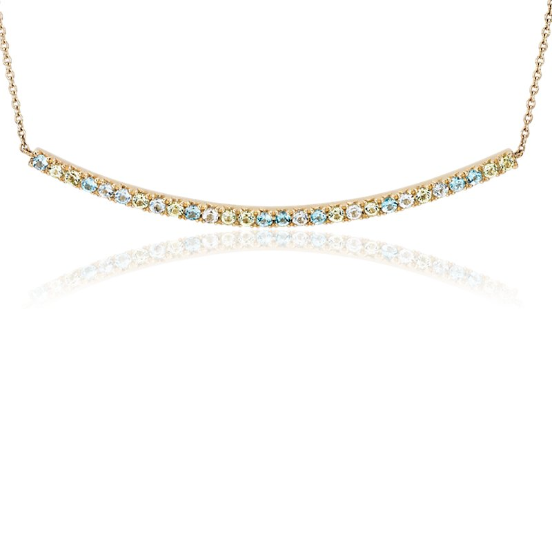 Petite Blue Topaz, Sky Blue Topaz and Peridot Curved Bar Necklace