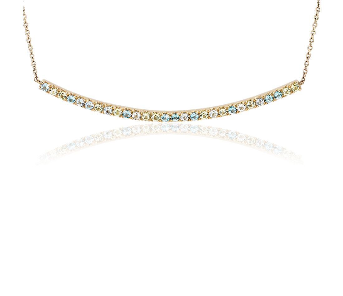 Petite Blue Topaz, Sky Blue Topaz and Peridot Smile Bar Necklace in 14k Yellow Gold