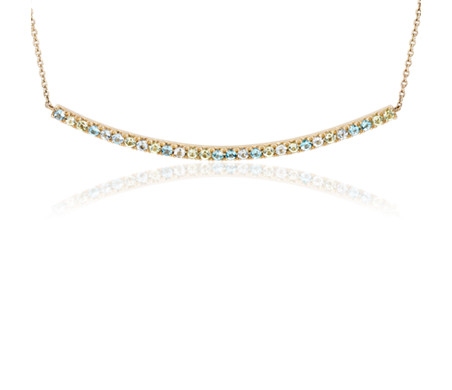 Petite Blue Topaz, Sky Blue Topaz and Peridot Curved Bar Necklace in 14k Yellow Gold (1.5mm)