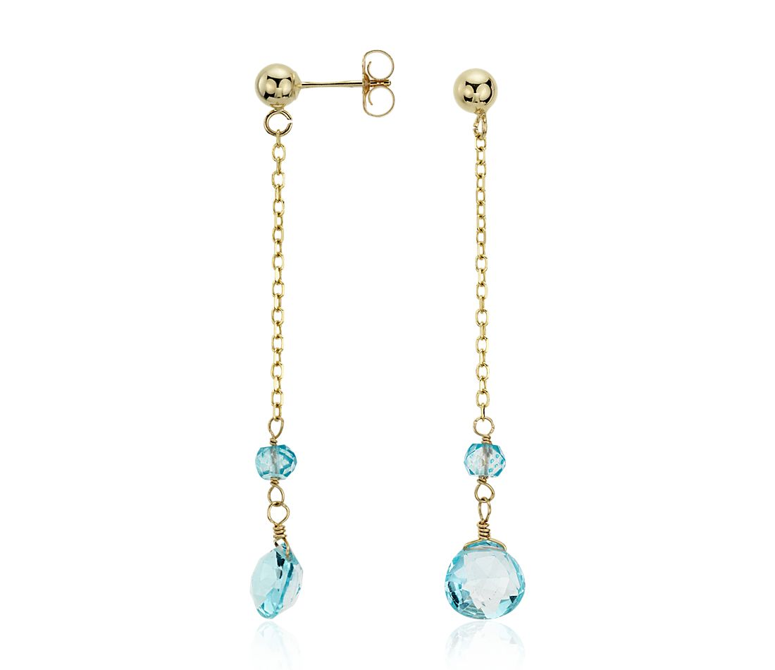Blue Topaz Petite Drop Earrings in 14k Yellow Gold