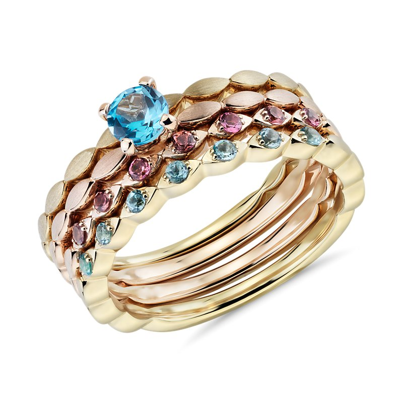 Blue Topaz and Pink Tourmaline Stacking Ring Set in 14k Yellow an