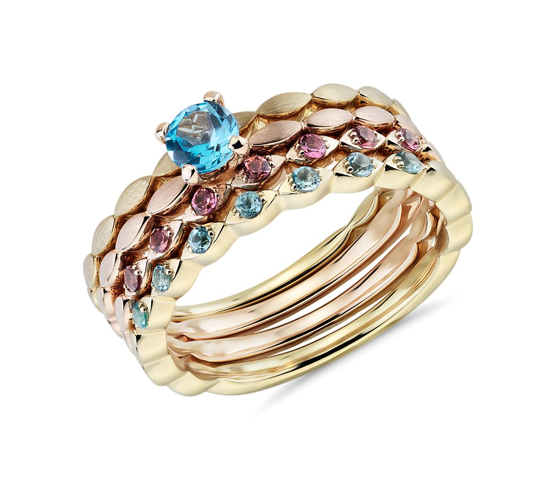 Blue Topaz and Pink Tourmaline Stacking Ring Set in 14k Yellow and Rose Gold (4mm)
