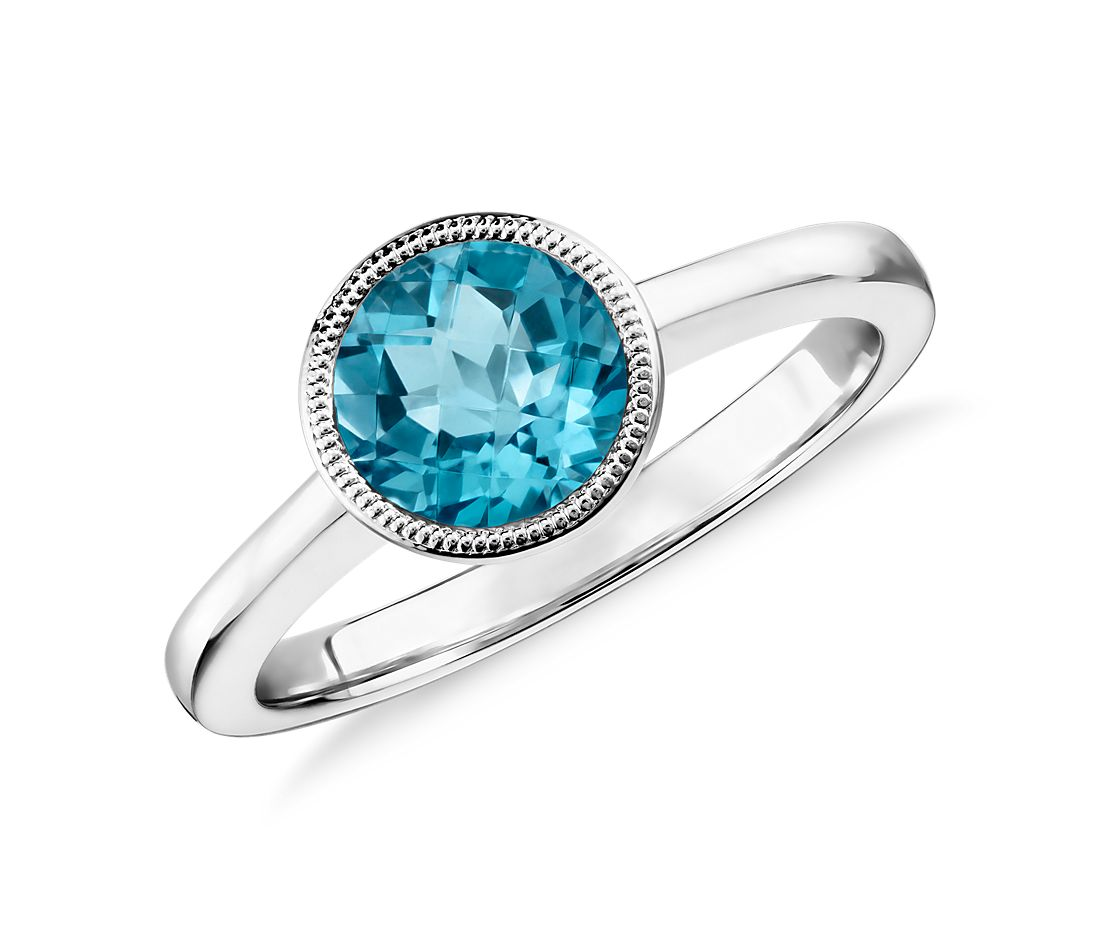Blue Topaz Round Milgrain Ring In Sterling Silver (7mm)