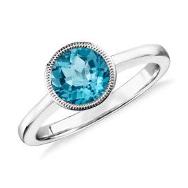 Blue Topaz Round Milgrain Ring in Sterling Silver (7mm)