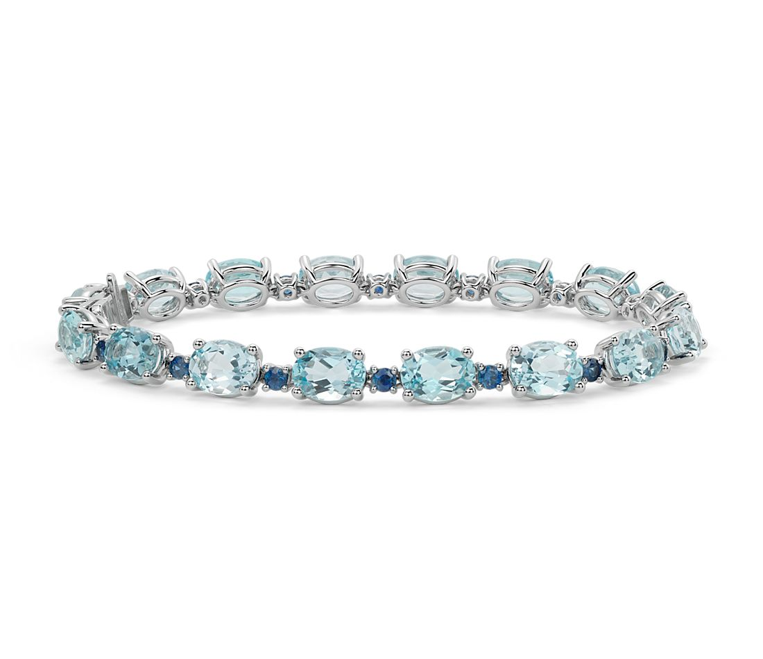 Blue Topaz And Sapphire Bracelet In 14k White Gold (8x6mm