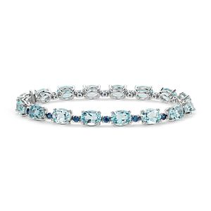 Blue Topaz and Sapphire Bracelet in 14k White Gold (8x6mm)