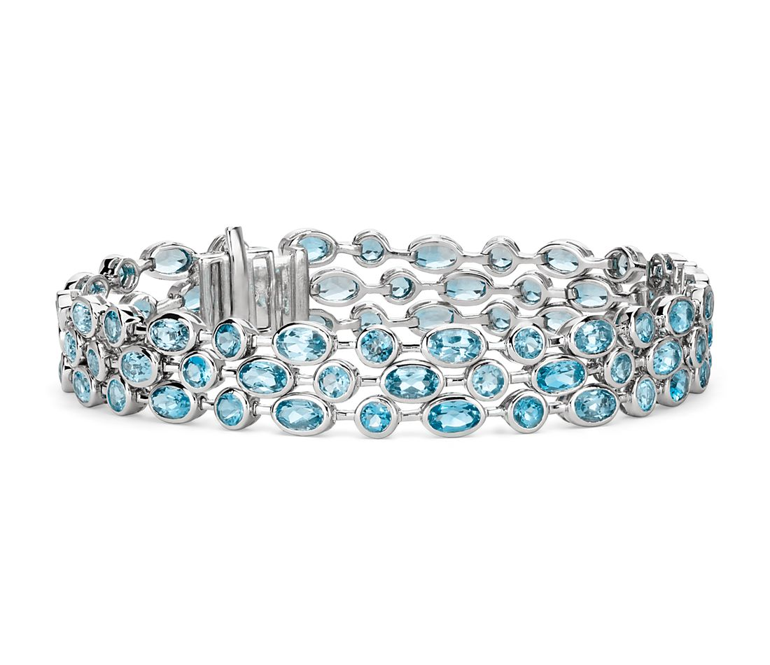 Three Row Blue Topaz Bracelet In Sterling Silver 5x3mm