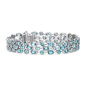 Bracelet topaze bleue trois rangs en argent sterling (5x3mm)