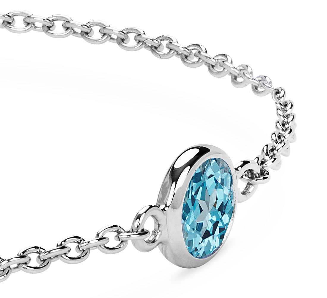 Bracelet chaîne topaze bleue en argent sterling