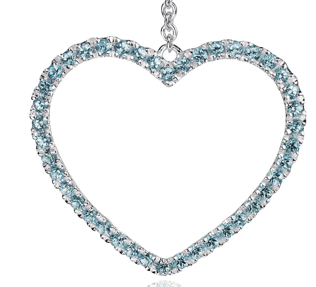 Boucles d'oreilles cœur topaze bleue en argent sterling