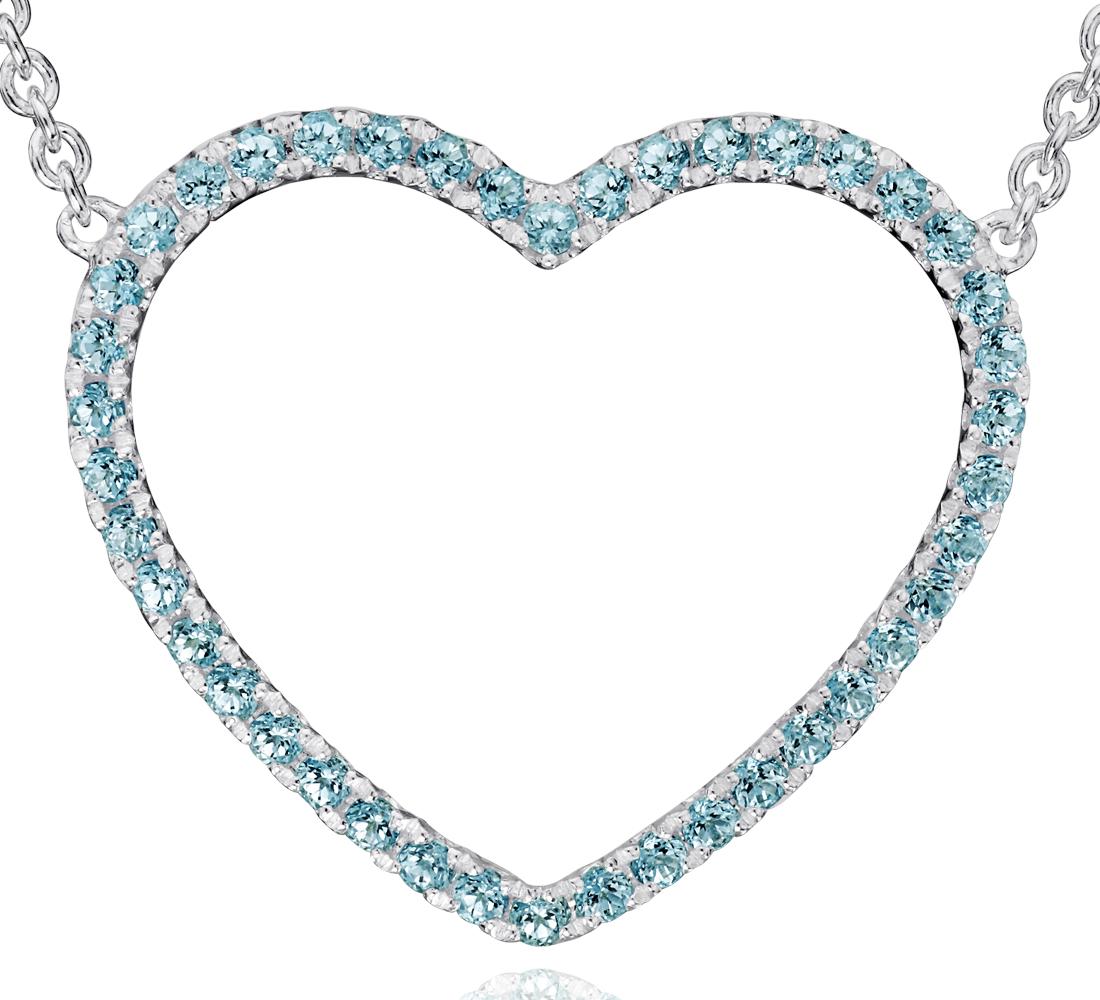 Pendentif cœur topaze bleue en argent sterling