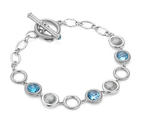 Frances Gadbois Blue Topaz Strie Disc Bracelet in Sterling Silver (6mm)