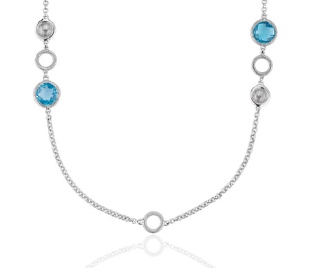 Frances Gadbois Blue Topaz and Strie Disc Station Necklace in Sterling Silver (7mm)