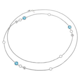 NEW Frances Gadbois Blue Topaz and Strie Disc Station Necklace in Sterling Silver (7mm)