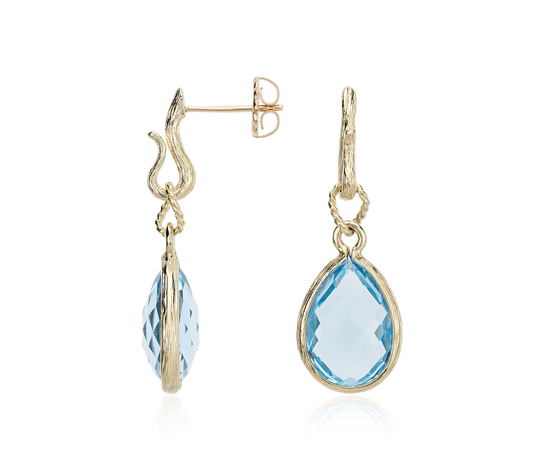 Blue Topaz Teardrop Earrings in 14k Yellow Gold (15x10mm)