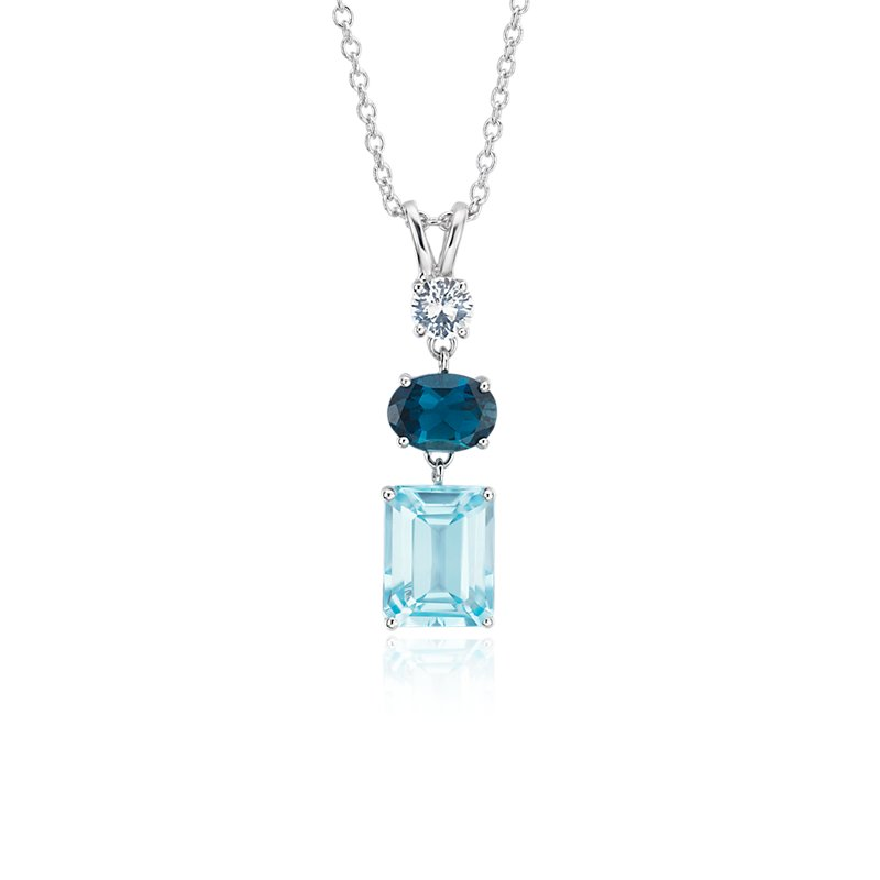 Sky Blue Topaz, London Blue Topaz and White Sapphire Tower Pendan