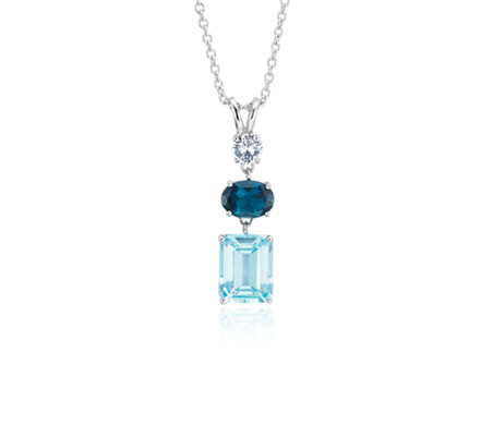 Sky Blue Topaz, London Blue Topaz and White Sapphire Tower Pendant in Sterling Silver