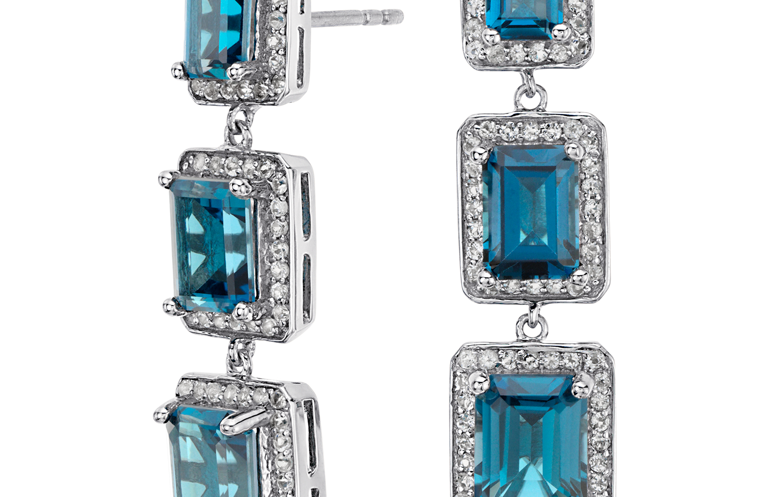 Pendants d'oreilles halo topaze bleu de Londres émeraude en argent sterling (8x6mm)