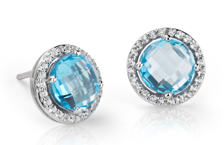 Boucles d'oreilles halo topaze blanche et topaze bleue en argent sterling (7mm)