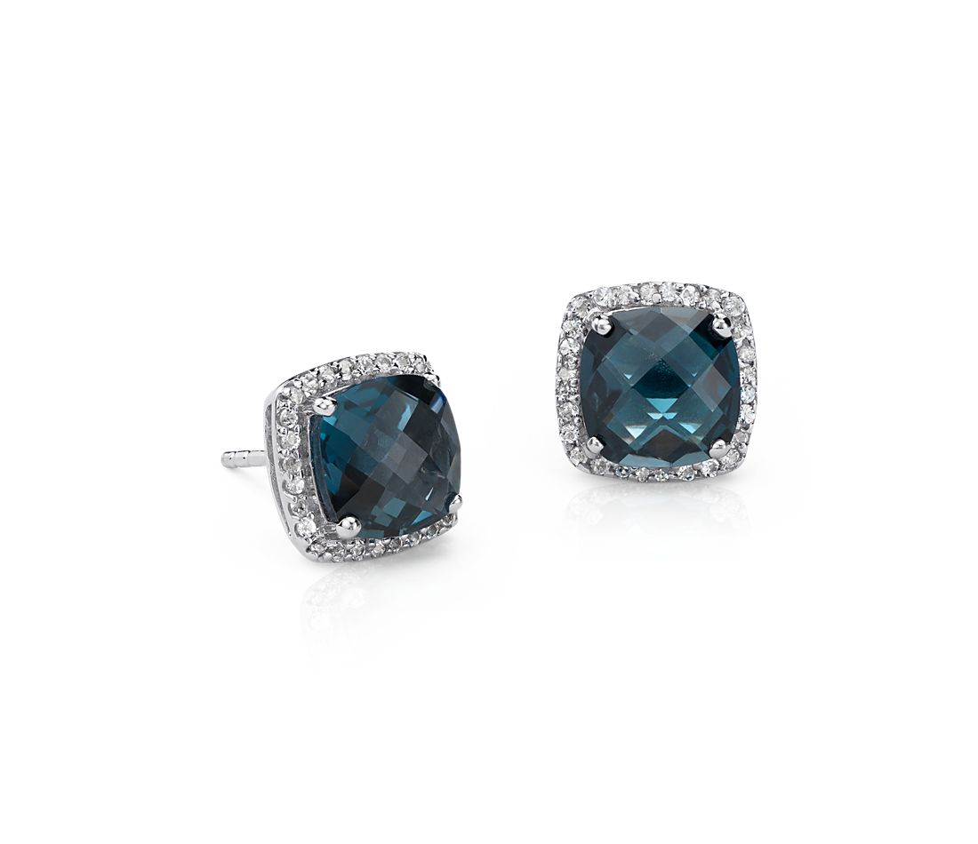 London Blue Topaz Halo Stud Earrings In Sterling Silver 8x8mm