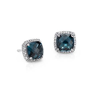 London Blue Topaz Halo Stud Earrings in Sterling Silver (8x8mm)