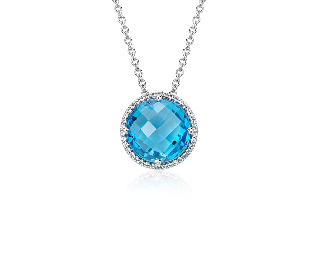 Blue Topaz and White Topaz Halo Necklace in Sterling Silver (12mm)