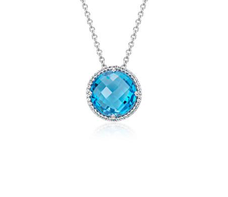 Blue Nile London Blue Topaz Elegant Halo Pendant in Sterling Silver (14x9mm) mtUyGvo