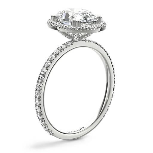 Bague de fiançailles halo de diamants taille ovale héritière Blue Nile Studio