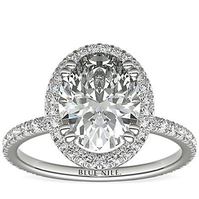 Blue Nile Studio Oval Cut Heiress Halo Diamond Engagement Ring in Platinum (0.44 ct. tw)