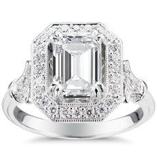 Blue Nile Studio Emerald Vintage Fleur de Lis Halo Engagement Ring in Platinum
