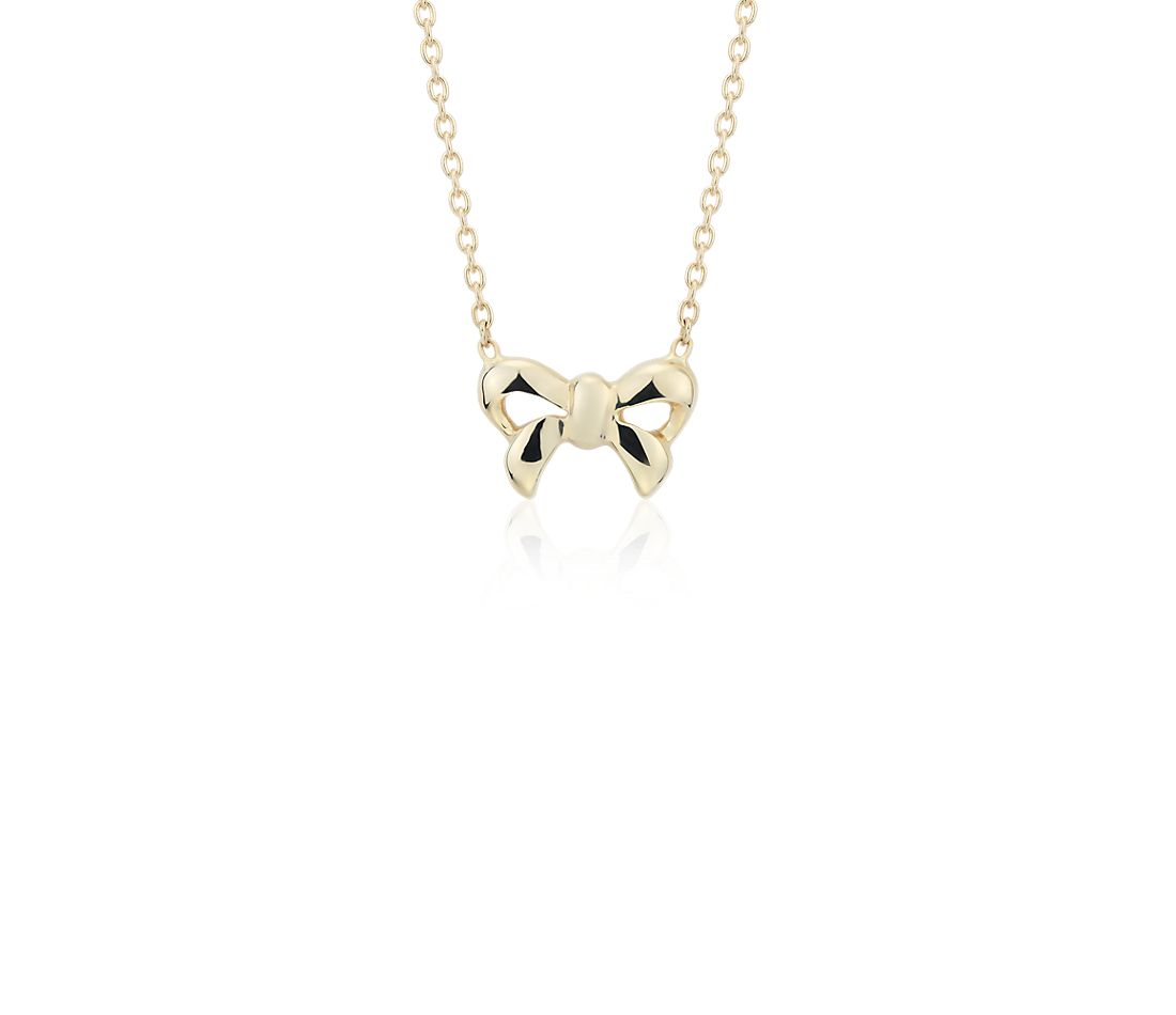 Mini Bow Necklace in 14k Yellow Gold