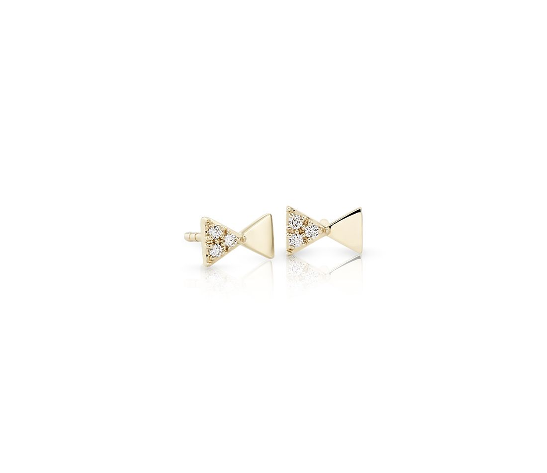 Mini Diamond Bowtie Studs in 14k Yellow Gold